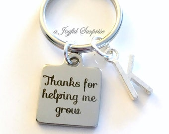Thanks For Helping Me Grow Gift Man Teacher Key Chain Mentor Advisor Keyring Birthday Present Initial