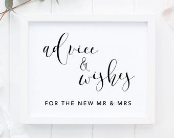 Advice and Wishes Poster,  Wishes & Advice Sign, Printable Wedding Sign, Wedding Poster, Advice and Well Wishes Print, Wedding Advice Print