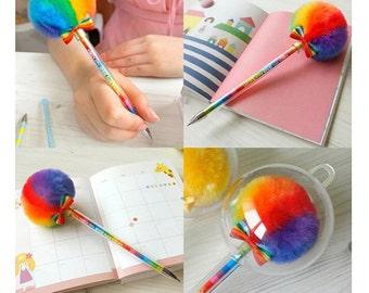 Pen - Rainbow Furry Lollipop Pen | School | Gift Ideas | Party Pen