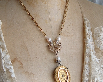 Assemblage Victorian Etruscan Locket Necklace Earrings Set Pearl Pendant Option Gorgeous Embossed Chain Sentimental Romantic Repurposed