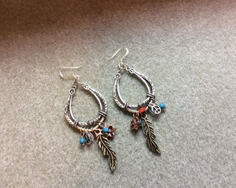 Southwest Boho Sterling Silver Earwires Mixed Media look GP Feather Copper Clover Acrylic Beads CL1622