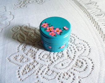 Turquoise ring box, Small jewelry box, Ring box, Til Death do us part, Keepsake box, Mother's Day gift, Hand painted box, Trinket box