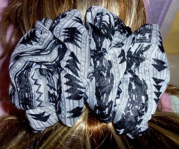 Becky Bows ~  Barrette scarf Hand crafted oversized  BIG hair bow Women or Girls black gray tribal print