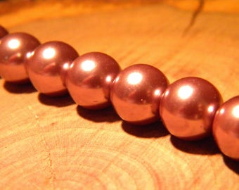 20 clear 10 mm purple - Pearl - iridescent glass beads - way PF3 14 cultured pearl