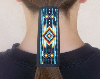 Native American Beaded Leather Hair Wrap With A Classic Cherokee Pattern In Turquoise, and With The Fire Colors Of The Southwest