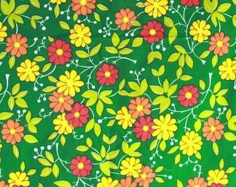 Hippie fabric, unused flower power curtain fabric
