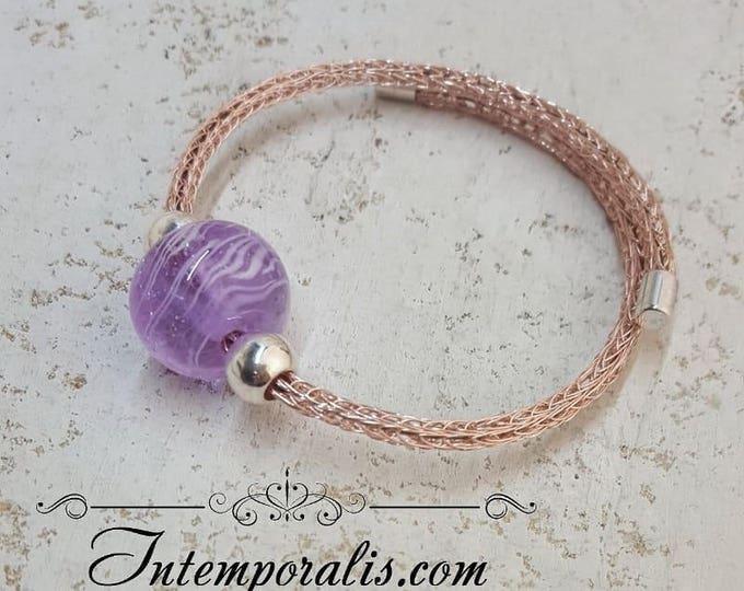Purple lampwork bead and viking knit bracelet, OOAK, SABRVI07