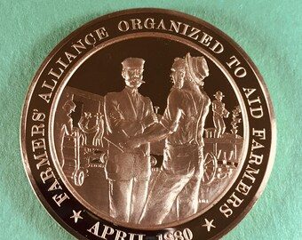 Franklin Mint Medal History of United States Series Farmers' Alliance Organized 1880, 44 mm Bronze Mint Condition<>#PSY-25