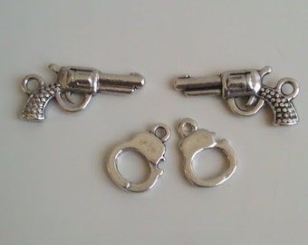CLEARANCE Gun - Pistol - Revolver / Handcuffs (12 sets of 3) Antique Silver Finish Tibetan Style Charms