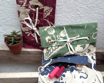 Vintage fabric cosmetic bag or tobacco