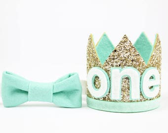 Boy Birthday Party Hat | First Birthday Glitter Crown | 1st Birthday Photo Prop | Pale Gold + Mint ONE