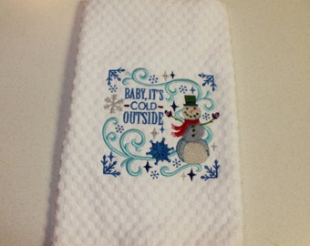 Embroidered Kitchen towel, kitchen towel, Waffle Towel, Snowman, Snowman towel, Hostess gift, funny towel, gift, handmade, Embroidered