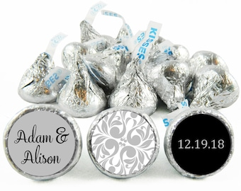 Set of 108 - Silver Wedding Stickers for Hershey's Kisses. Silver Wedding Anniversary Labels for Kisses - Wedding Party Favors - #IDWED710