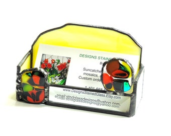 Funky modern business card holder for desk, stained glass bevel fused glass, unique office supply gift for boss
