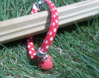 fabric strap red charm fimo