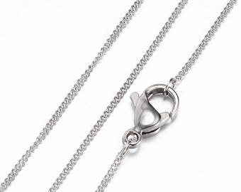 """Stainless Steel Necklace - Curb Chain with Lobster Clasp -Top Quality - 20""""/1mm - N365"""