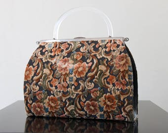 floral tapestry bag with lucite handle