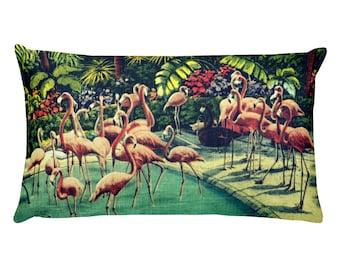 Flamingo Pillow Covers 12x20, Bird Pillows, Beach Cottage Gifts, Coastal Pillows Pink Flamingo Decor Pink Accent Pillows, Aqua Throw Pillows