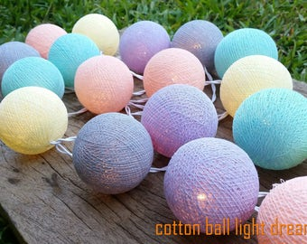 cottonball light20 pastel cotton balls for decorated new year party,Halloween party,birthday party,wedding decorated,bedroom decorate