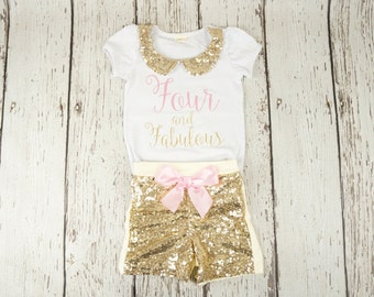 4th Birthday Shirt, 4th Birthday Girl Outfit, Four and Fabulous, Birthday Girl, Shirt, Outfit, 4th Birthday Pink and Gold, Posh Peanut