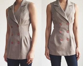 Vintage Vest, 90s Vest, Double-breasted Vest, Vintage Fitted Vest, Tailored Vest