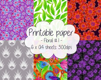 Printable paper: Floral set #1