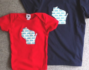 2 custom state infant onesies or toddler tees, little or big brother & sister
