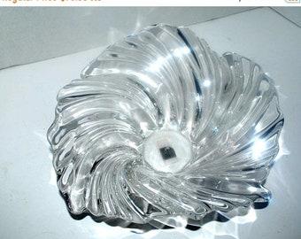 on sale art glass bowl vintage Mikasa clear glass  wave bowl home decor