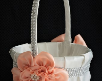Peach Wedding Basket \ Peach Flower Girl Basket Pillow Set \ Ivory Peach Basket \ Ivory Peach Wedding Ring Bearer Pillow, Peach Ivory Basket
