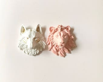 Set of 2 SMALL Faux Taxidermy Animal Heads:  1 Small Wolf in White with Gold Details + 1 Small Lion in PEACH / Faux Animal Head wall mounts