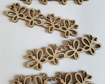 Connected Wooden Butterfly Cut Outs ( Spring Decoration, Garlands, Jewelry , Embellishments )