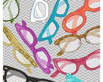 Vintage Glasses art - 9x12 print - cat eye glasses