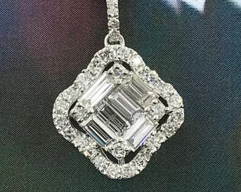 14 K White Gold Pendant - 0.90 ctw  Diamonds Pendant