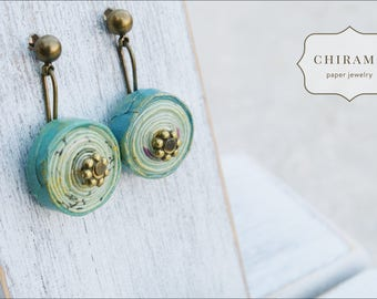 Sea Memory. One-of-a-kind Recycled Paper Earrings
