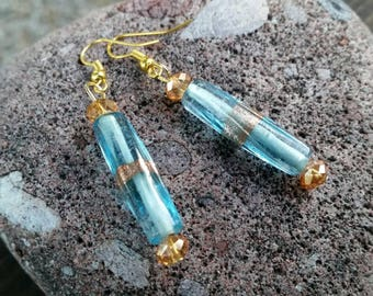 Beautiful Blue and Copper Glass Bead and Crystal Earrings - Simple and Elegant on Gold Alloy Findings - 925 sterling silver available