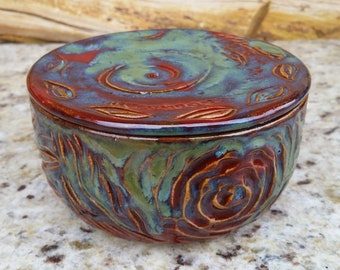 Pottery French Butter Crock, Red and green, Dragonfly, Leaves, Butter Dish, Ceramic Butter Crock, Butter Jar, Butter Keeper