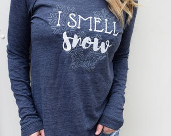 I Smell Snow, Winter Sweater, Inspired by Gilmore Girls, Snowflake Shirt, New Vintage Embroidery, Stars Hollow Shirt