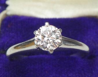 Vintage Palladium Diamond Engagement Ring Round Brilliant Diamond Ring .60 Carat Diamond Vintage Engagement Solitaire Diamond Ring