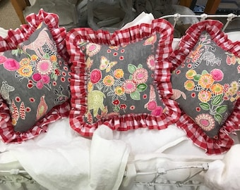 READY TO SHIP-3 Whimsical Pillow Shams with Red Gingham Ruffle Trim-Summertime Porch Pillows-Bright Floral Animal Print Cotton Shams