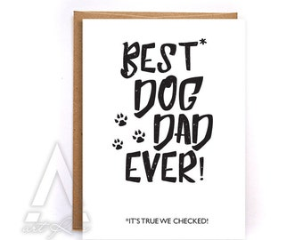 Fathers day card from dog, pet dad, fathers day from dog, to dad from the dog, greeting cards black, card from daughter, personalized GC5