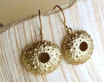Sea Urchin Earrings - Brass - Beach Inspired - Beach Wedding - Organic - Natural - Sea Urchin Shells - Shell Earrings - Made In Brooklyn