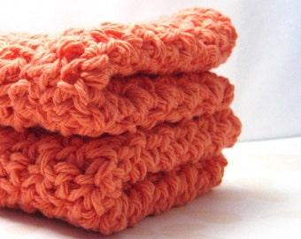Tangerine Cotton Washcloths, Crochet Wash Cloths, Handmade Dish Cloths, Apricot Dishcloths