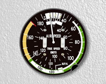 Aviation Airspeed Indicator Round Double Toggle Switch Plate Cover