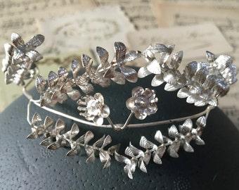 Wedding Silver crown Bridal, vintage diadem, German Myrtle Tiara, Silver Crown, bridal headdress, hair accessories, bridal jewelry, Boho
