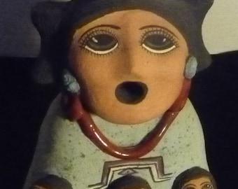 """Vintage Native American Storyteller signed & dated """"Evez 1990"""""""