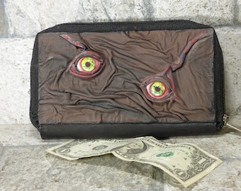 Wallet Woman Clutch With Zombie Horror Face Double Zippered Organizer Brown Black Leather 243