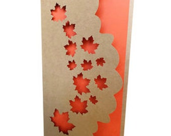 Fall Leaves Long Card , Blank inside  , Elegant , Just Because , Autumn , PaperCut , Nature