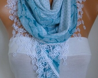 Blue & White Cotton Scarf,Spring,Wedding Scarf, Necklace Cowl Bridesmaid Gift Gift Ideas For Her Women Fashion Accessories
