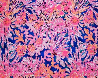 Swirling Seadream cotton 6 X 6,  9 X 18 inches or 18 X 18 inches or one yard ~Authentic Lilly Pulitzer fabric~