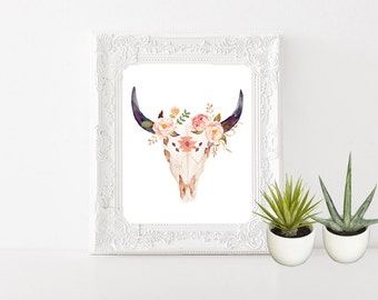 Cow Skull Wall Art, Wall Decor, Cow Skull, Feather, Boho, Watercolor, Native American, Flower (1443)